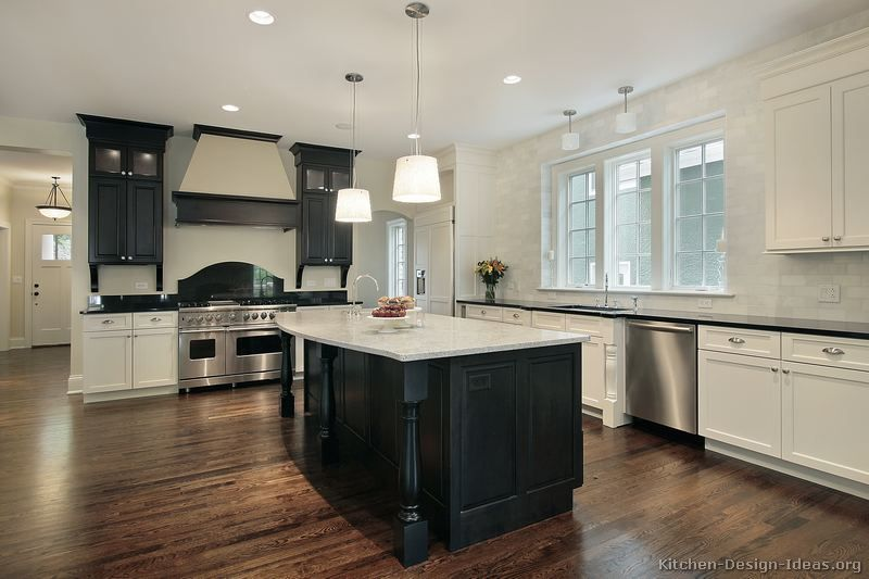 Kitchen of the day large traditional black white for Traditional kitchen appliances