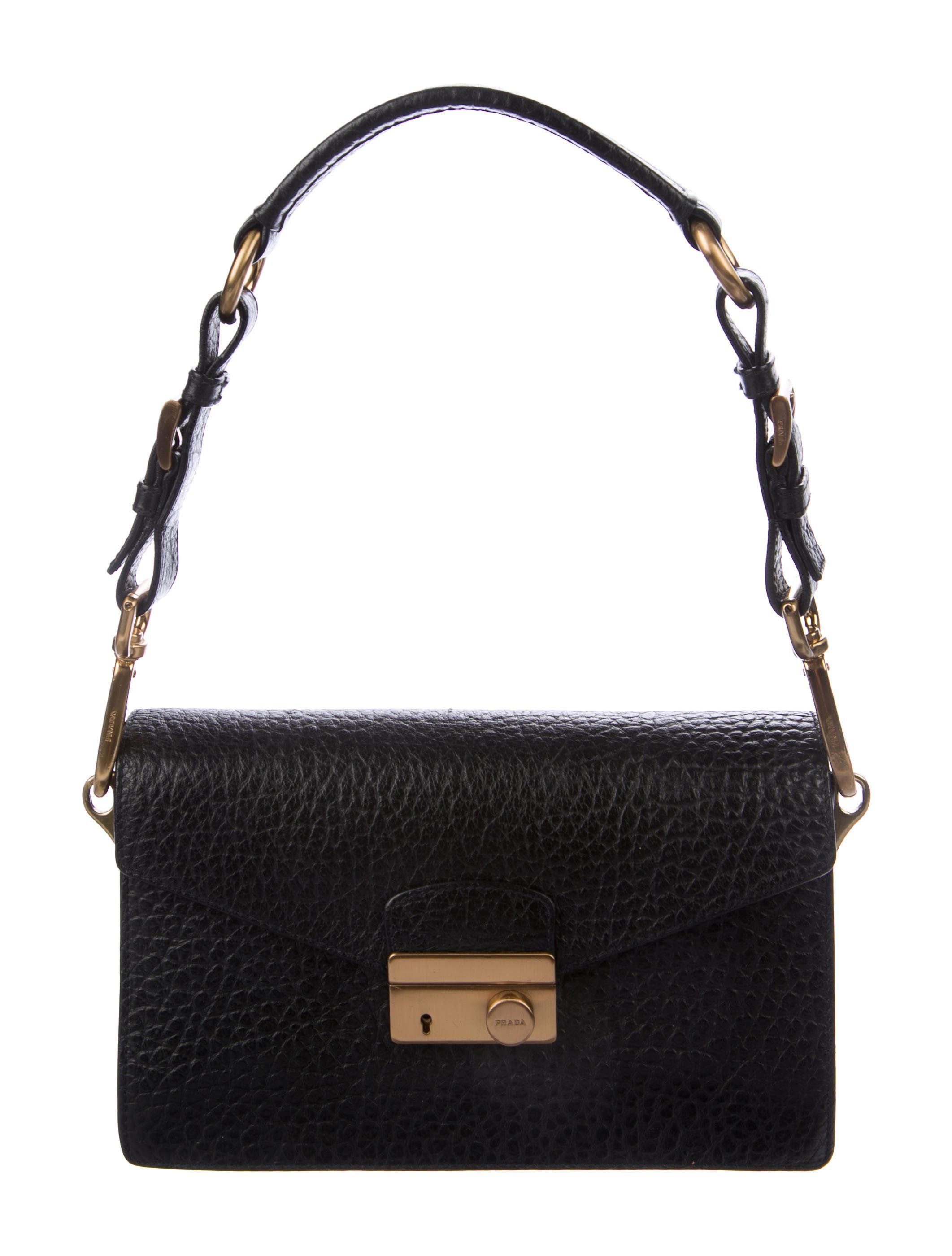 2da1169c46 Black Saffiano leather Prada Mini Sound crossbody bag with brass hardware
