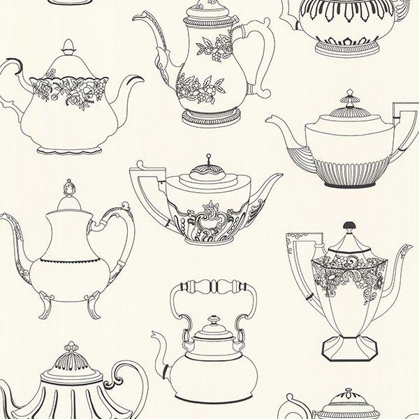 Kitchen Wallpaper Texture very cool drawn teapots! 347-20120 black vintage teapot texture