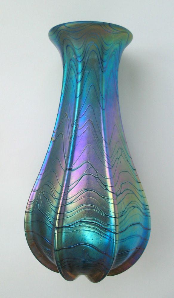 Kristall Glasvase Ein Pracht Exemplar in Jugendstil