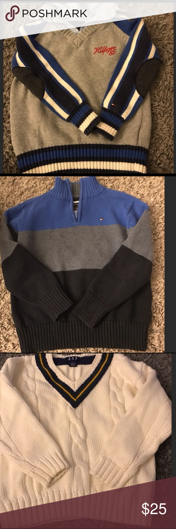🍭Boys 4 Sweater Bundle 🍭 Excellent condition boys 4 sweater bundle! Tommy Hilfiger collar and patches on sleeve size 5. Tommy Hilfiger striped size 6. Gap size S. Children's Place size S. Shirts & Tops Sweaters