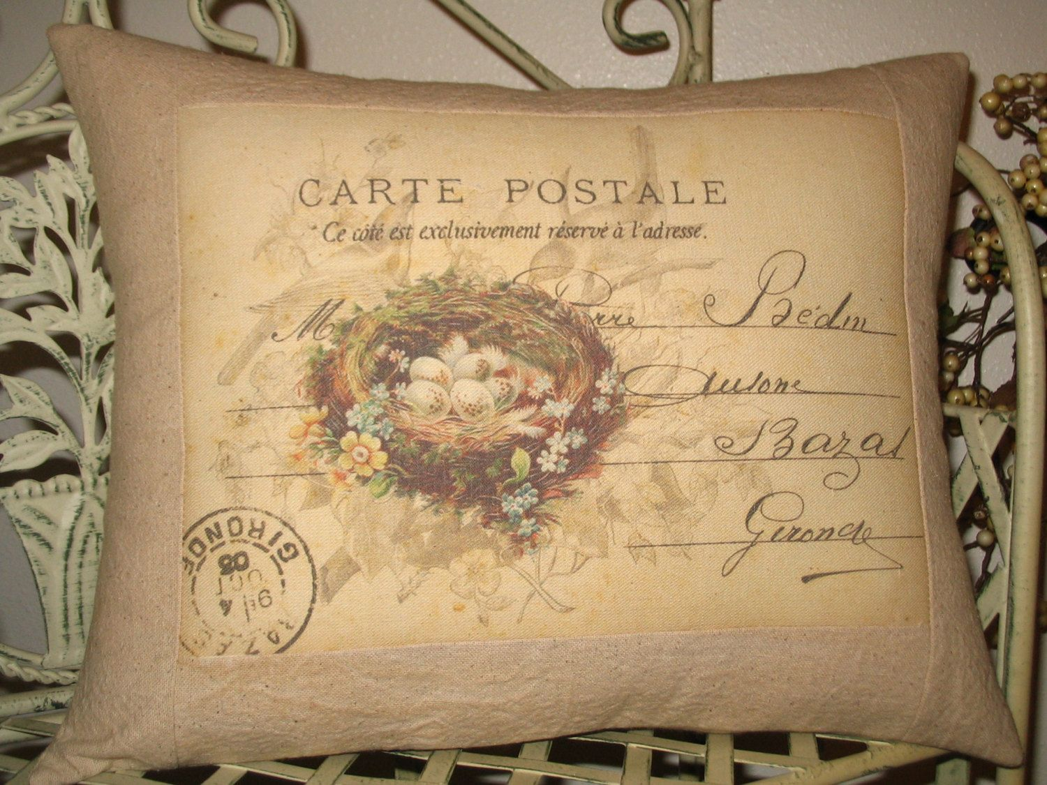 French Carte Postale Bird Pillow with French Script and Bird\'s Nest ...
