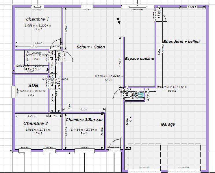 Plan Maison Plain Pied 100m2 Votre Avis 87 Messages 100m2 Maison Messages Plain Votre In 2020 How To Plan Floor Plans Tiny House
