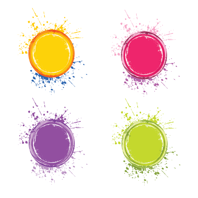 Four Splatter Abstract Color Splash Vector, Abstract, Color