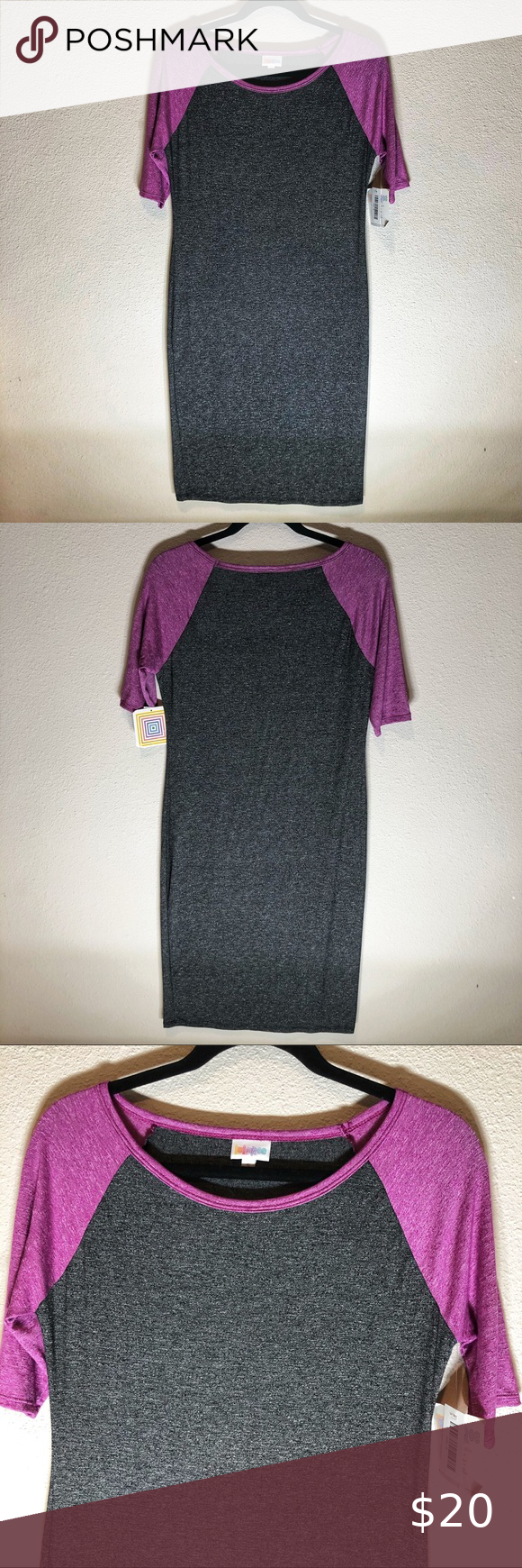 LuLaRoe Purpe Julila Raglan Stretch Dress Top Soft Blend