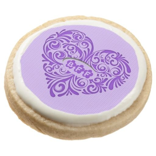 Purple BFF Heart Shortbread Cookies Round Premium Shortbread Cookie