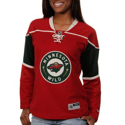 newest 2810e f87e0 Reebok Minnesota Wild Ladies Premier Lace-Up Jersey - Red ...