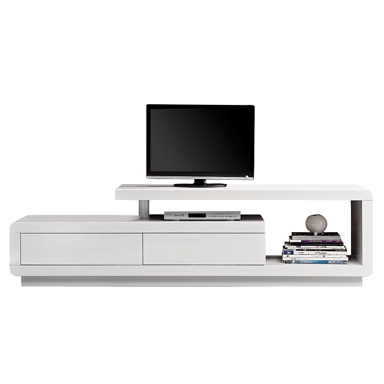 Evoque Geometric Tv Unit In White High Gloss With Touch Open  # Meuble Tv Techno