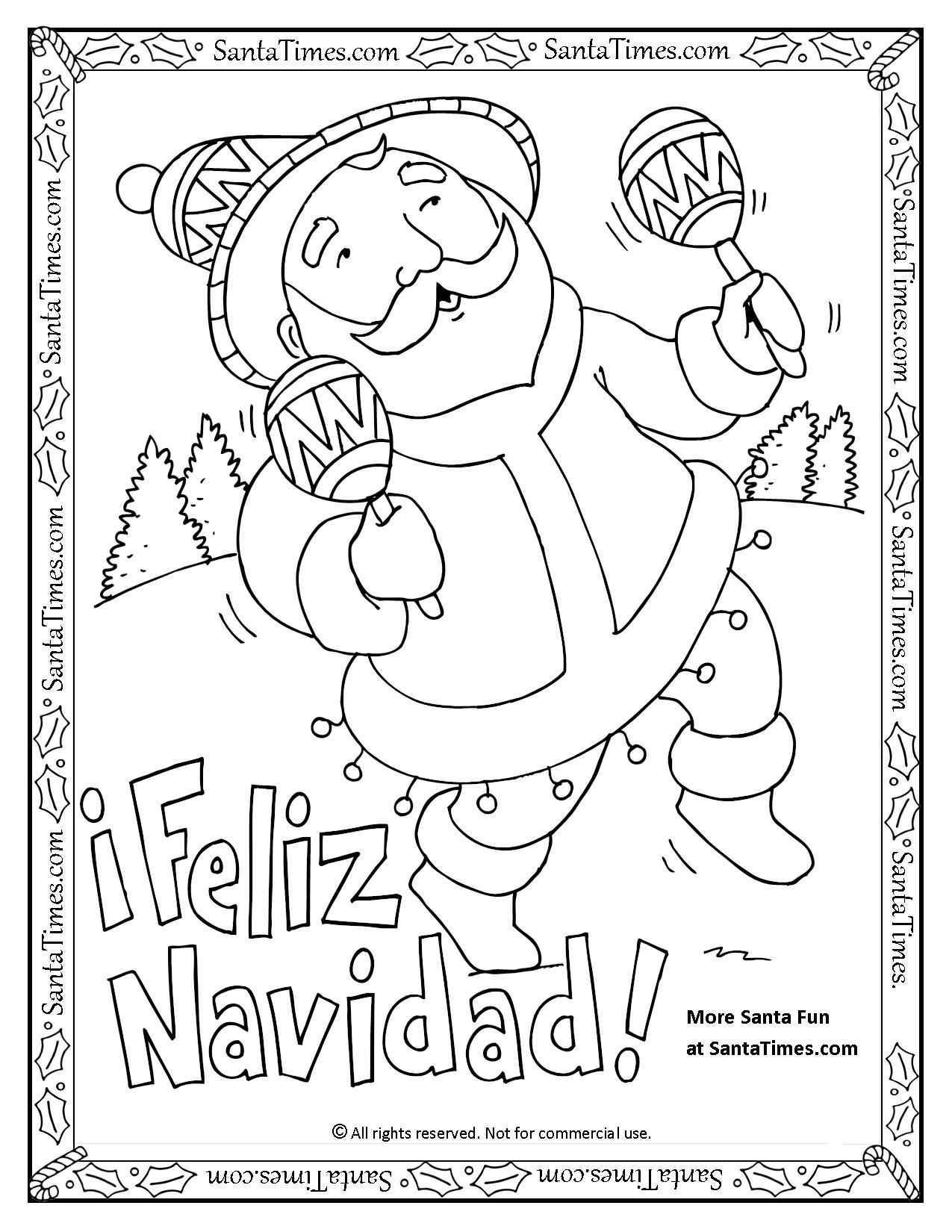 Coloring Pages For Christmas In Spanish. Feliz Navidad Coloring Pages Completed with Lyrics  Printable Page Papa Noel quiere desearles