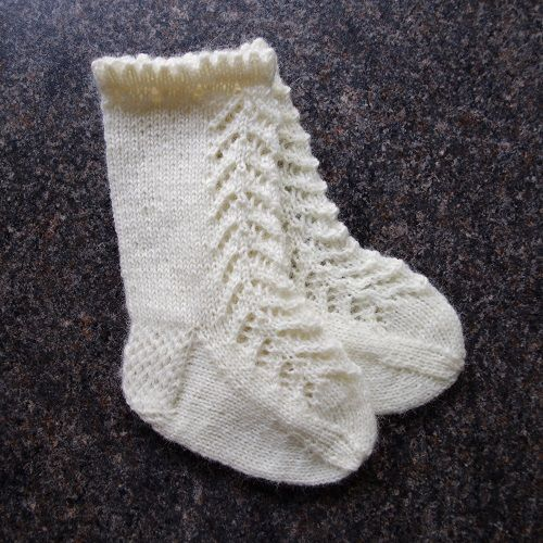 b648ac165 Knitting pattern for lacy knee-high baby socks More