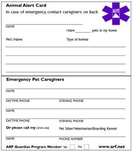 Free Animal Alert Card From Arf Frugal Living Mom Pet Emergency Pet Emergency Preparedness Printable Signs