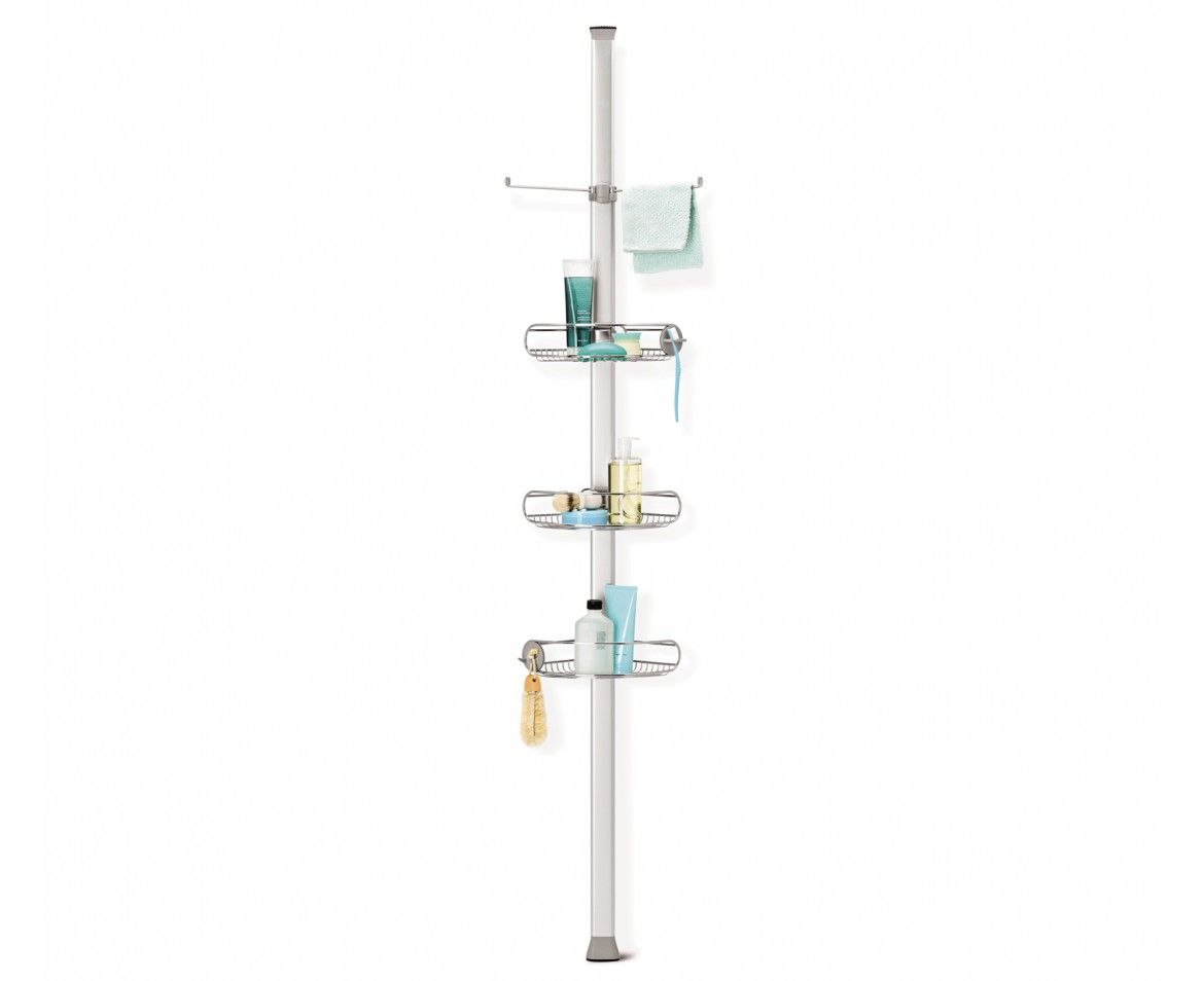 Tension shower caddy stainless steel + anodized aluminum | Steel ...