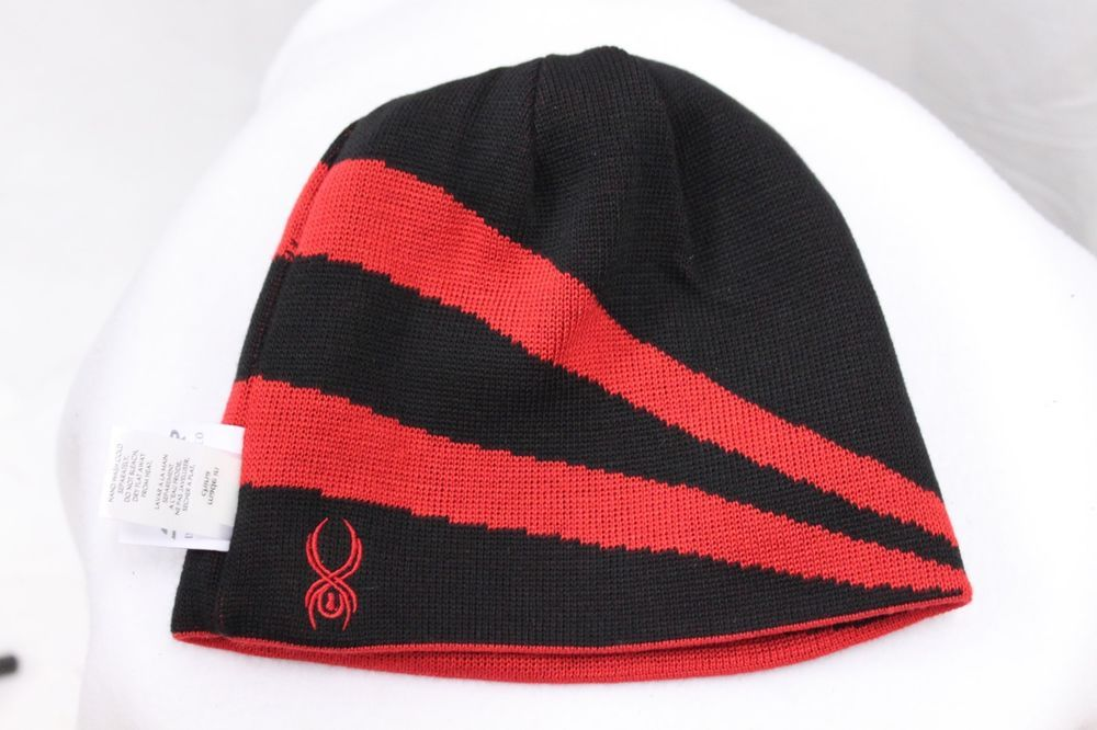 7a933d90e9b Spyder Reversible Jacquard Striped Beanie Knit Black Red MSRP  35 Ski Hat  NEW