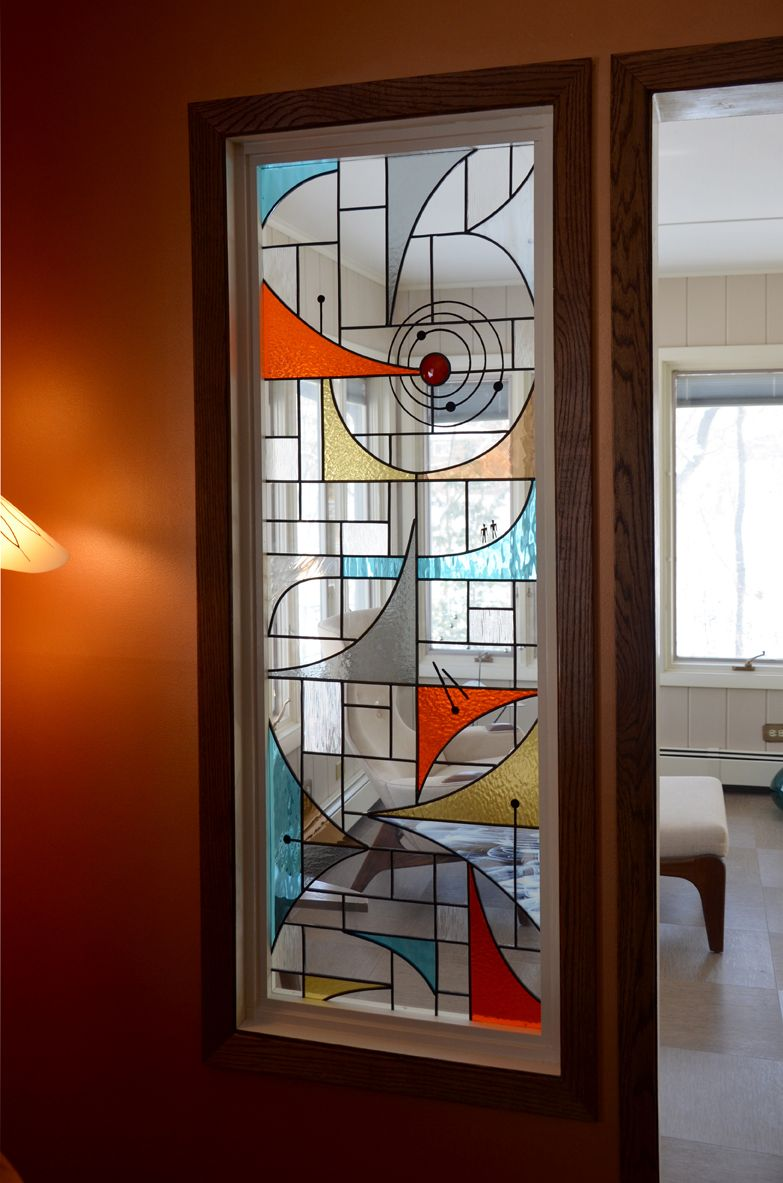 Stained glass pocket doors - Mid Century Modern Stained Glass Window