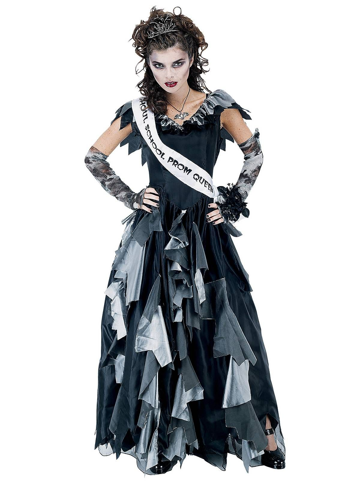 womens zombie prom queen costume cheap horror halloween costume for womens costumes - Cheap Creepy Halloween Costumes