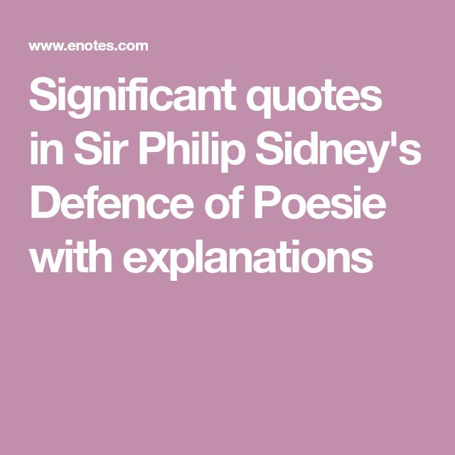 defense of poesie