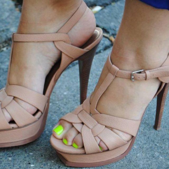 Ysl Tribute Sandals Neon Toes Hot Combination Heels Beige Heels I Love My Shoes