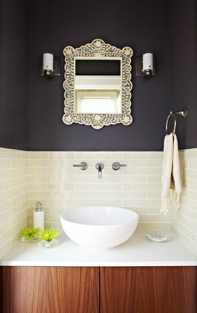 Benjamin moore iron mountain powder room inlay mirror charcol wall also