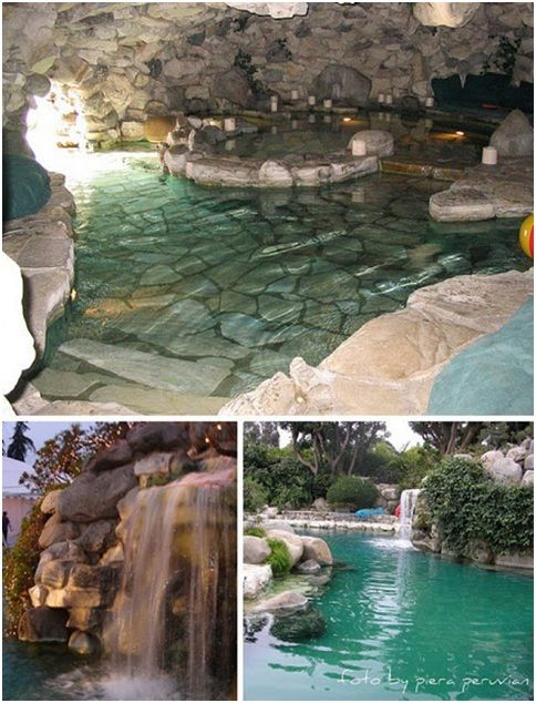 Swimming Pool With Artificial Cascade And Waterfalls Luxury