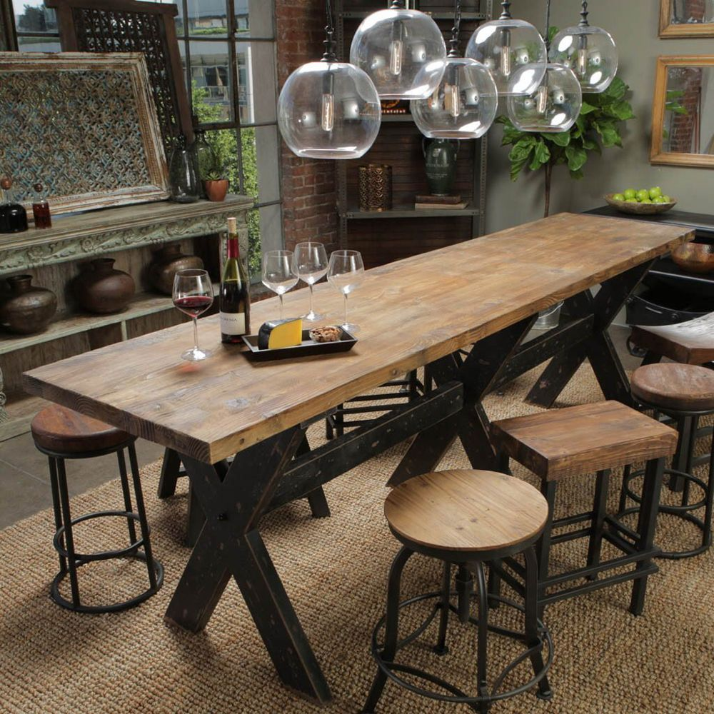 Aurora Gathering Table Distressed and Reclaimed Wood
