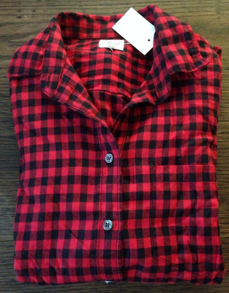 J Crew NWT S Classic Button-Down Shirt Cape Gingham Flannel 30519 $70 red black #JCrew #ButtonDownShirt