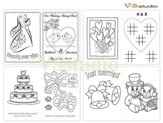 Wedding Coloring Activity Book Personalized Printable