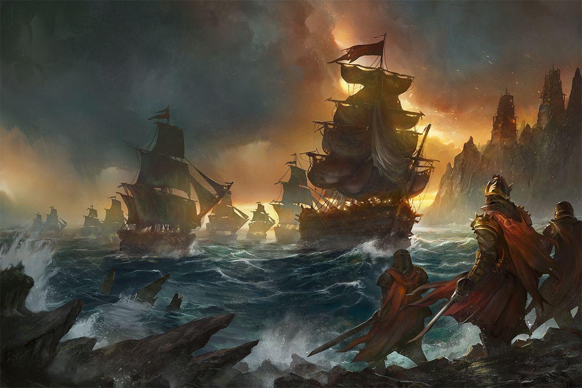 Fantasy Medieval Sea Ship Concept Art