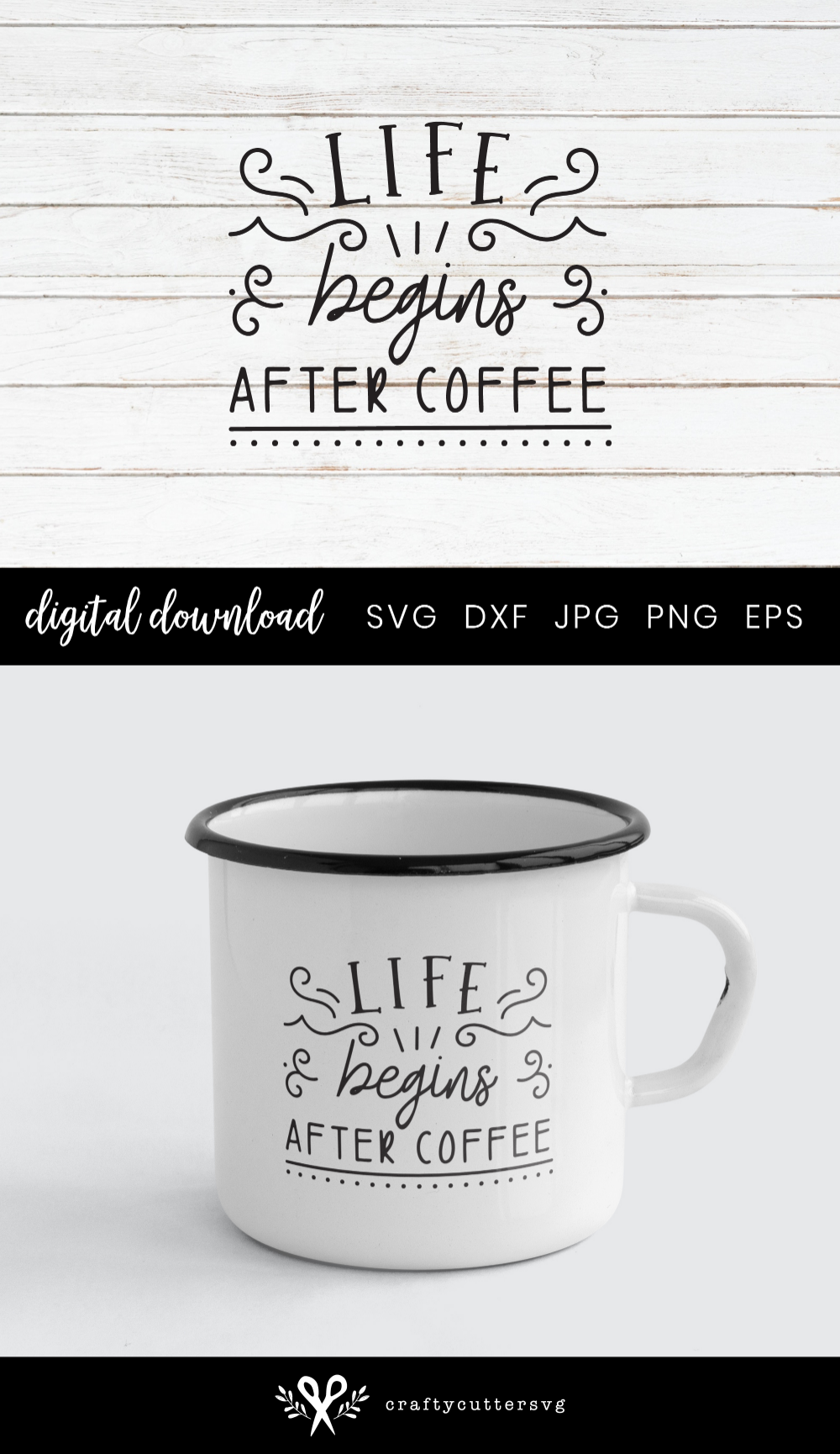 Life begins after coffee, Coffee Quote for Mug Svg (290071) | SVGs | Design Bundles
