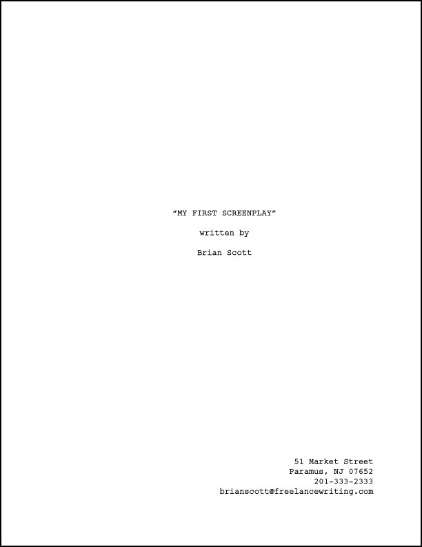 How To Format A Title Page For Your Screenplay  Writer