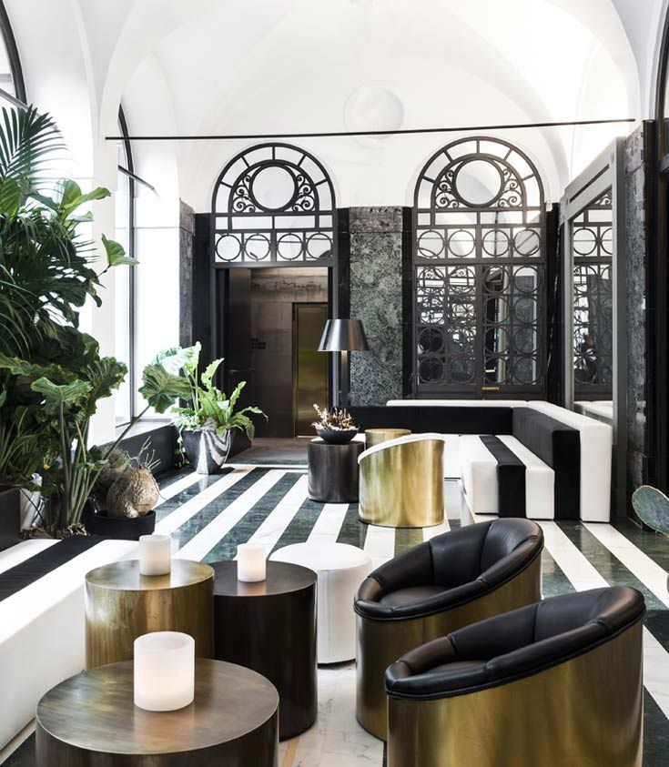 senato hotel milan in the hall carrara marble floor copper and brass coffee tables u interiors alessandro bianchi architetto pinterest marble floor