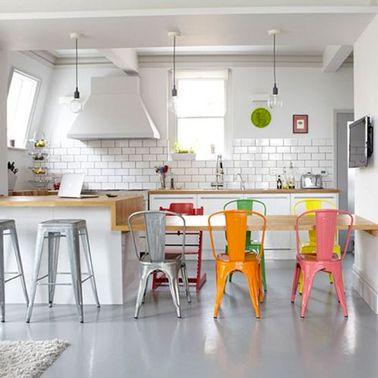 Idées Déco Pour Une Cuisine Grise Chaise De Couleur Cuisines - Chaise cuisine grise pour idees de deco de cuisine