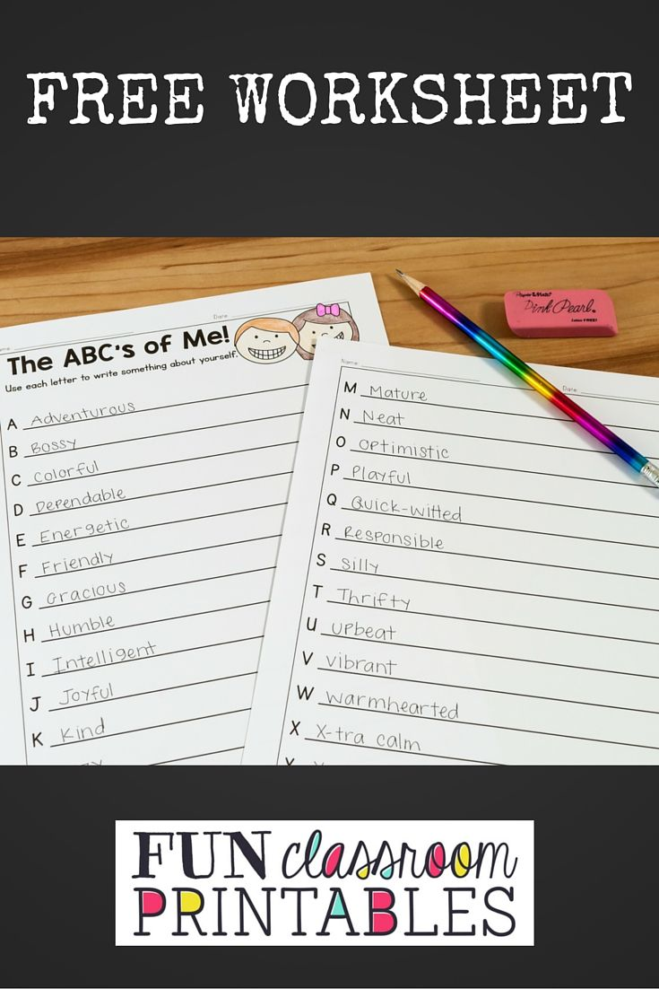 Free alphabet autobiography worksheet from FunClassroomPrintables