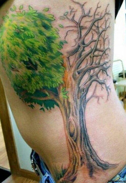 Tree Half Dead Half Alive Tattoos Pinterest
