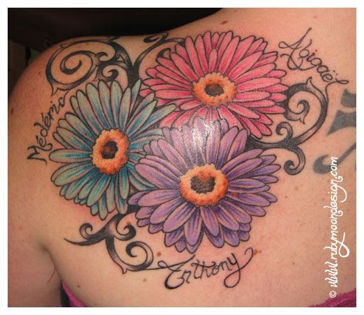 Birthstone tattoos gerbera daisies do one in my for Tattoos with birthstone colors