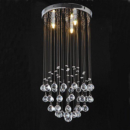 Lightinthebox modern crystal dome light chandelier crystal rain drop pendant lighting flush mount 3 bulb included