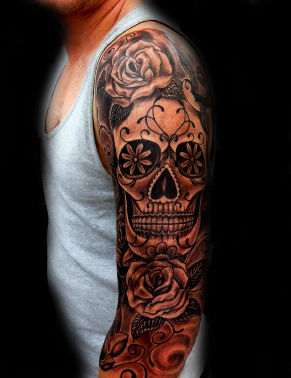 100 Sugar Skull Tattoo Designs For Men Cool Calavera Ink Ideas Skull Sleeve Tattoos Full Sleeve Tattoos Skull Tattoo Design