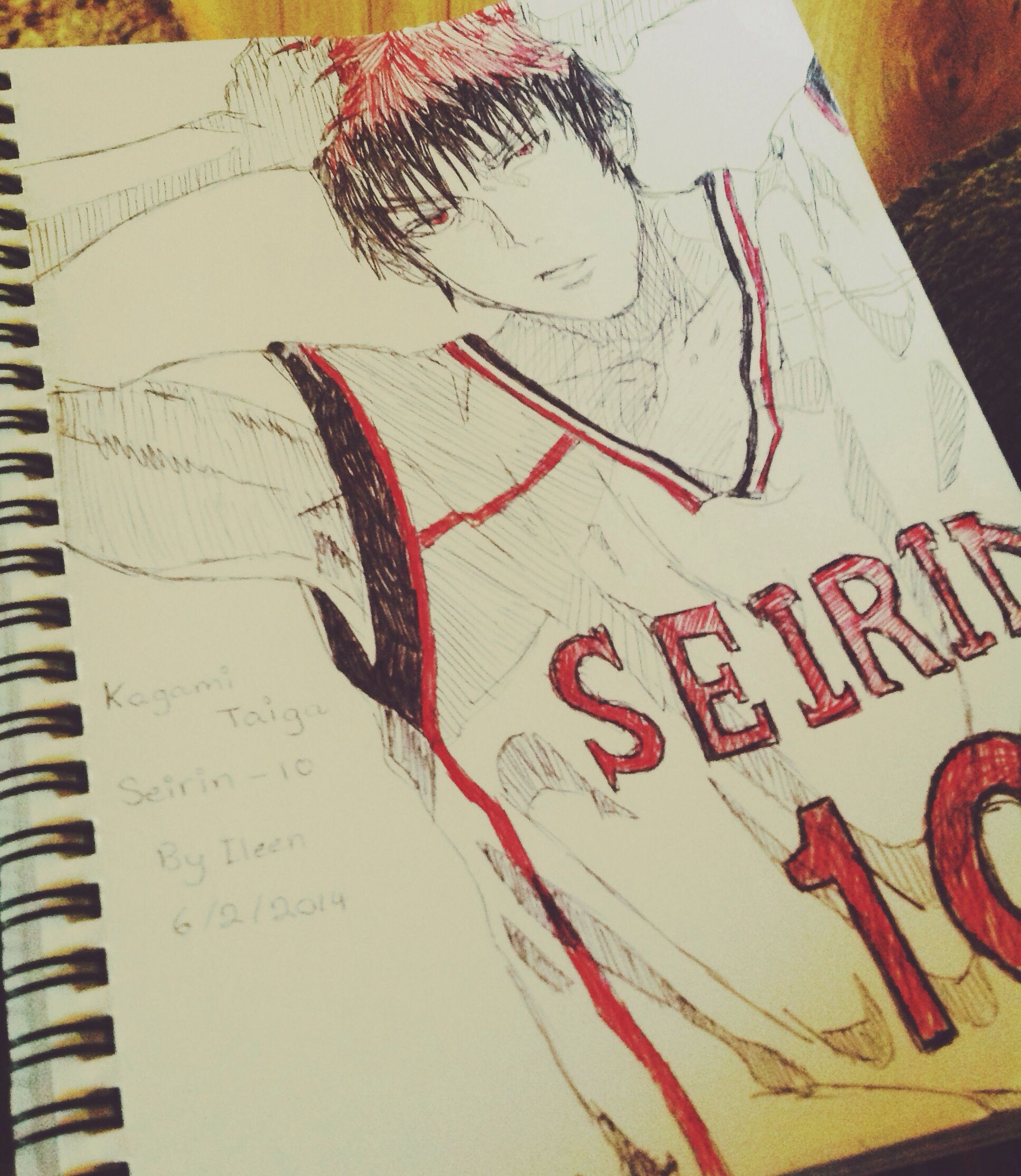 pen sketch black white and red anime character kagami taiga