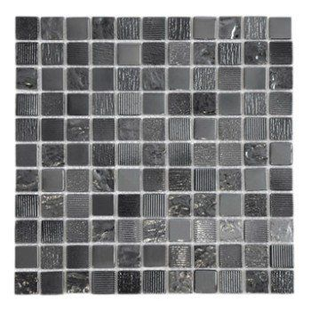 Mosaïque mur Glossy noir 25 x 25 cm Leroy Merlin Salle de bain