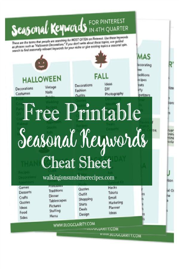 Blog Tips Free Printable Seasonal Keywords Cheat Sheet Free - food sign up sheet template