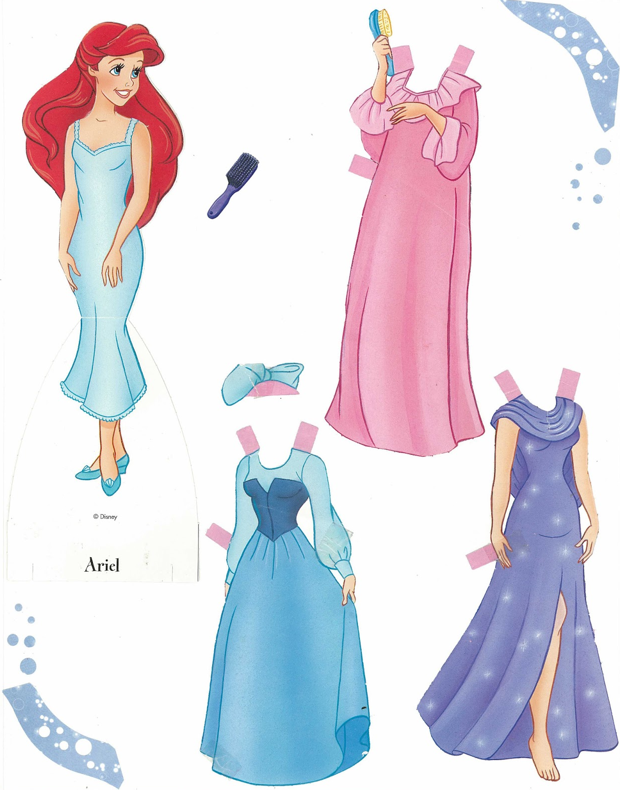 Disney Ariel Little Mermaid Dress Up Paper Doll with Accessories