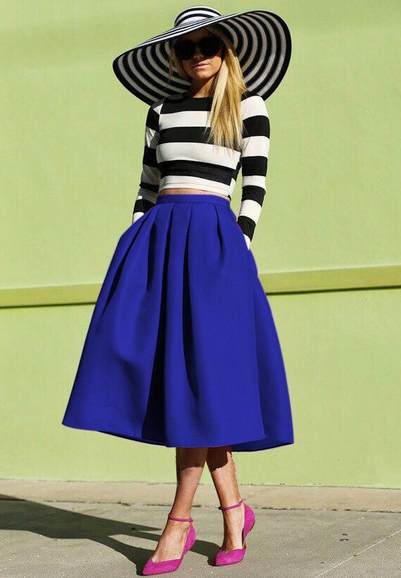 671ae5ee77 Shop Blue Flare Pleated Midi Skirt online. Sheinside offers Blue Flare Pleated  Midi Skirt & more to fit your fashionable needs. Free Shipping Worldwide!