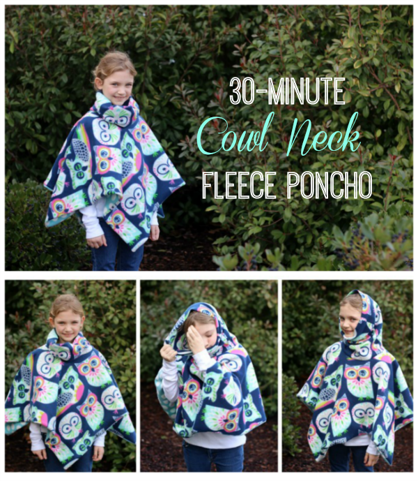 30-Minute Cowl Neck Fleece Poncho Tutorial
