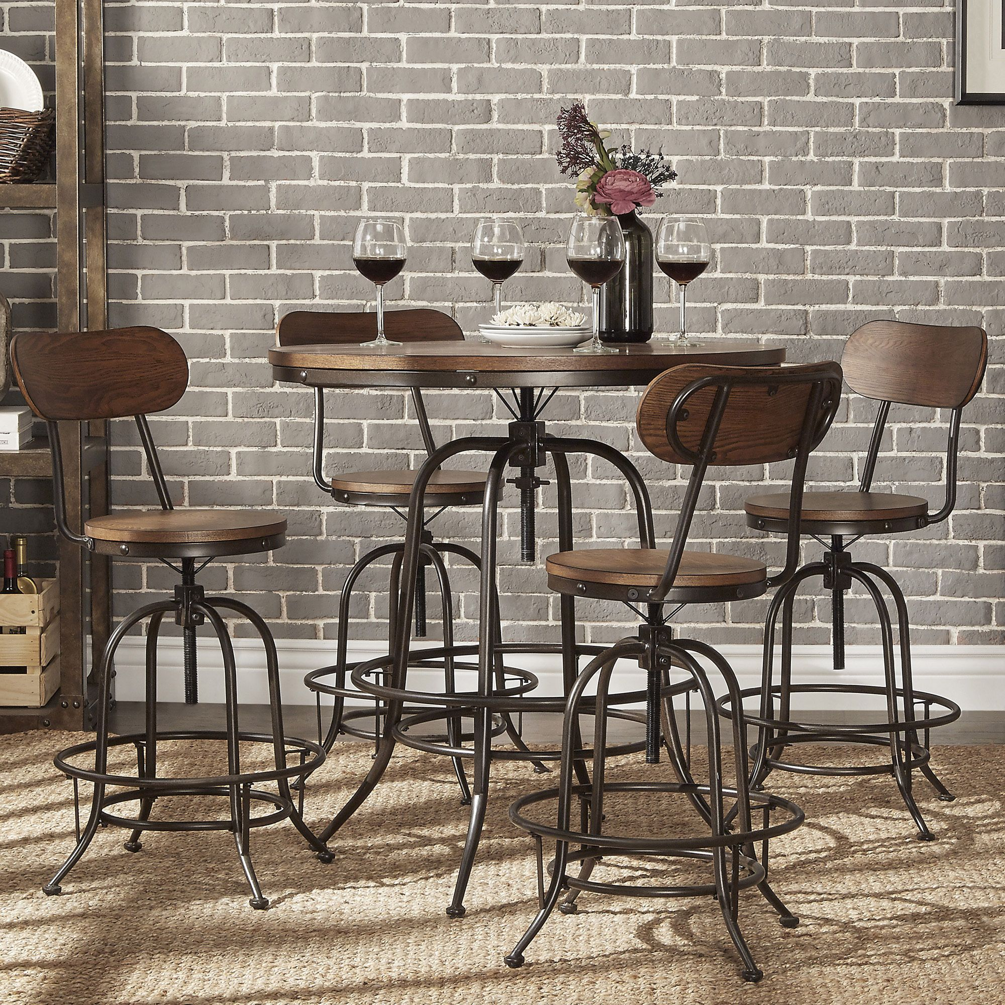 Introduce Simplicity And Transitional Functionality With This Modern  Industrial Style Round Bar Table Set. Offered