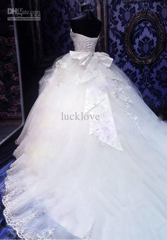 Cheap 2013 Deluxe Royal Puffy White Sweetheart Lace Up Long Court Train Bridal Wedding Dresses With A Large Number Of Crystal And Embroidery As Low