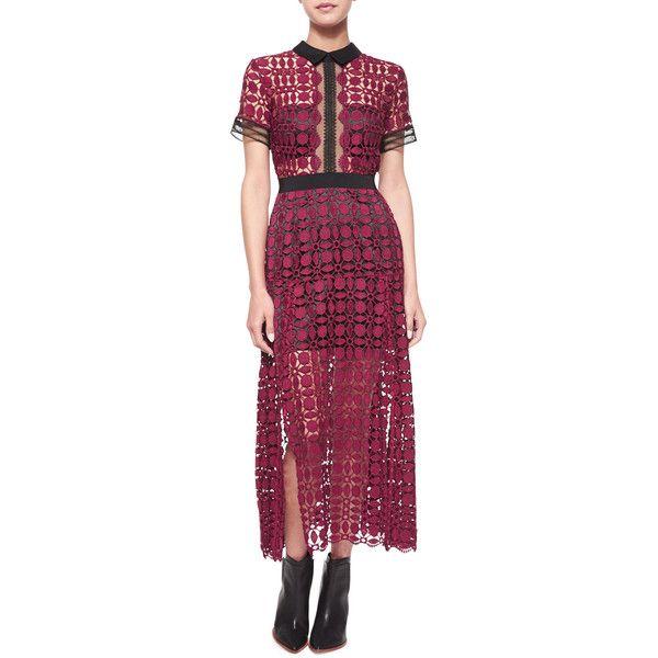 Self Portrait Short-Sleeve Guipure-Lace Midi Dress ($530) ❤ liked on Polyvore featuring dresses, burgundy, sheath dress, see through dress, scalloped dress, purple lace dress and short sleeve dress