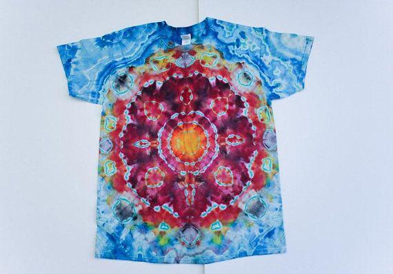 52325d095d96a MENS Shirt - Tie Dyed Shirt - Reverse Dye - Sun Mandala - Large ...