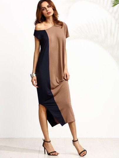 One-Schulter seitlich gespalten Kleid -kontrastfarbe | платье ...