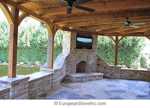 Outdoor Covered Patio Designs Flagstone Stone Fireplace