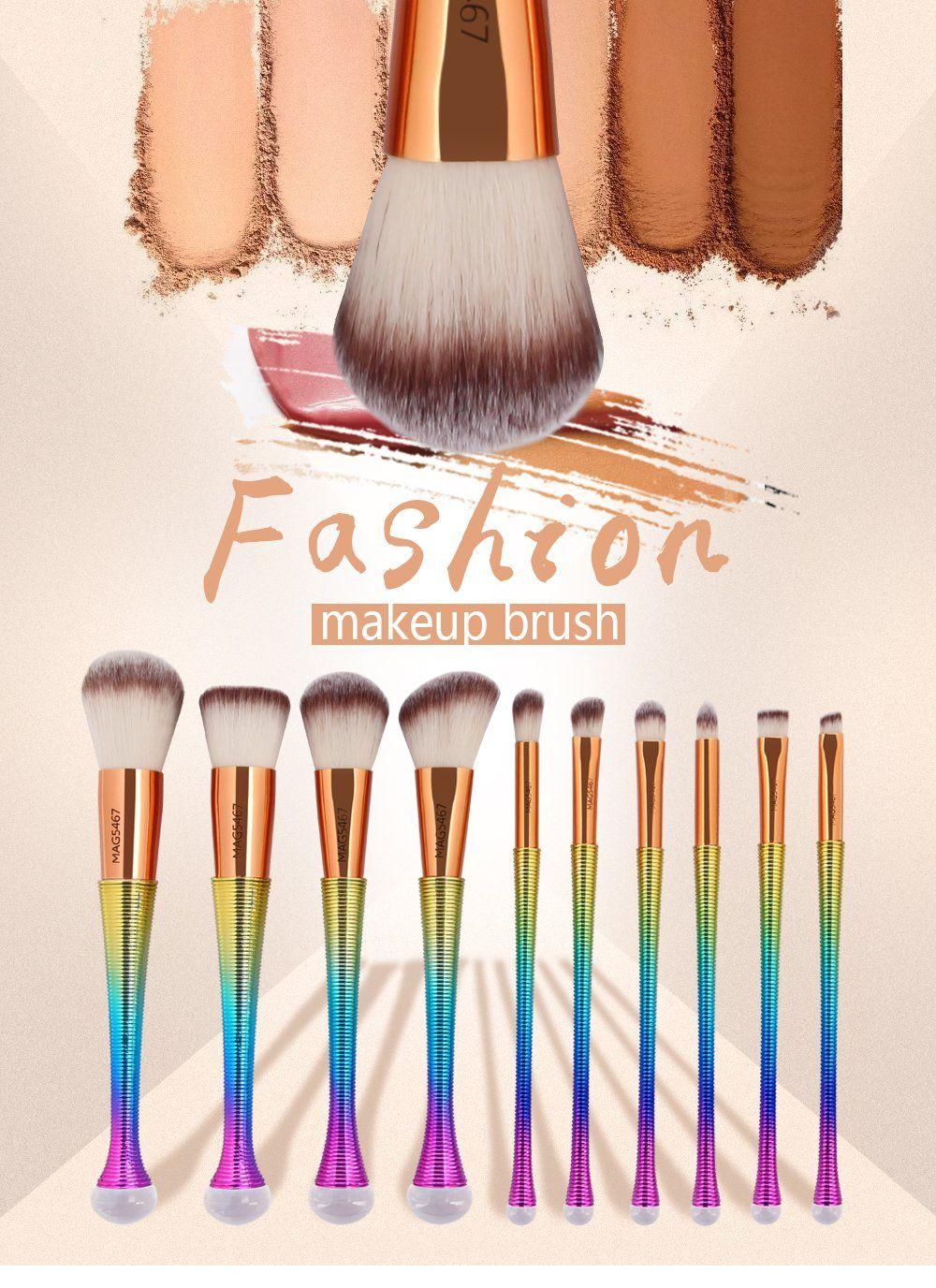Metallic Rainbow Makeup Brush Set 10 pcs Aeora Makeup