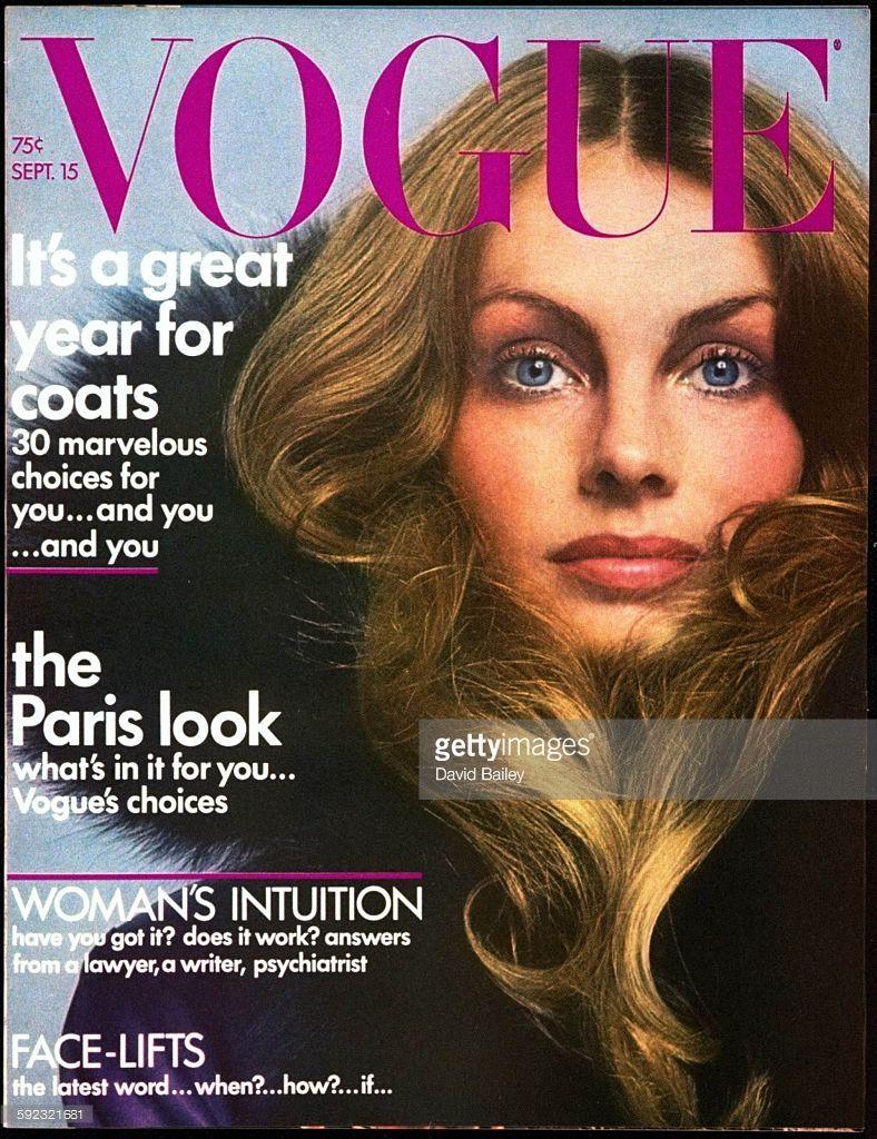 Jean Shrimpton in Dior coast, makeup by Serge Lutens, hair